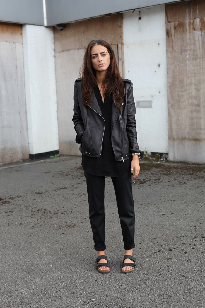 (Theyskens Theory leather jacket, Theory silk tank, Zara leather joggers, Luv AJ septum cuff, Birkenstocks)...