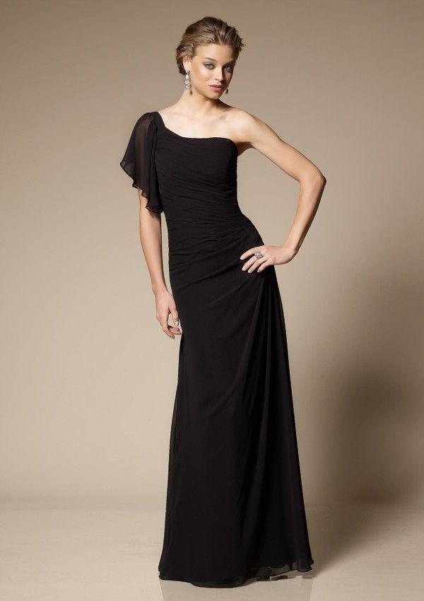 Black Draped Sheath One-shoulder Floor-length Chiffon Wedding Party Dress.,Silhouette: Sheath ,Neckline: One-shoulder ,Waist: Dropped ,Hemline: Floor-length ,Fabric: Chiffon ,Embellishment: Draping ,Back Detail: Zipper ,Fully Lined: Yes ,Built-in Bra: Yes .