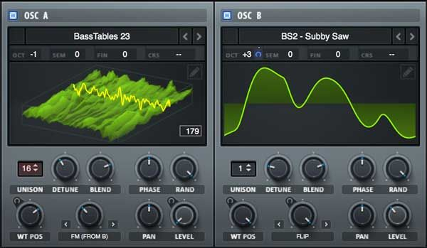An image of the oscillator section in Xfer Records' Serum plugin. | Spectrum analyzer, Digital audio workstation, Hardware components