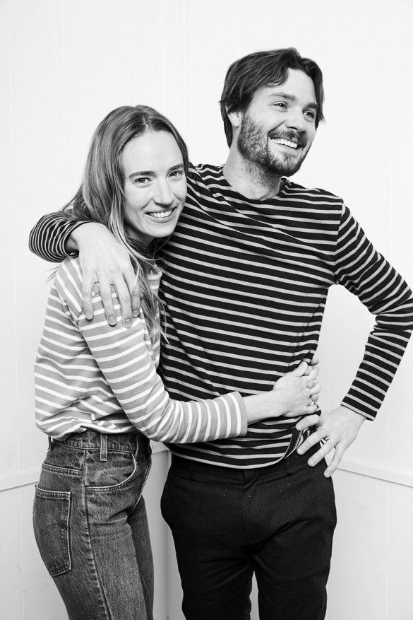 Daphne & Pali wearing Everlane's Brenton stripe t-shirt for their Valentine's Day campaign