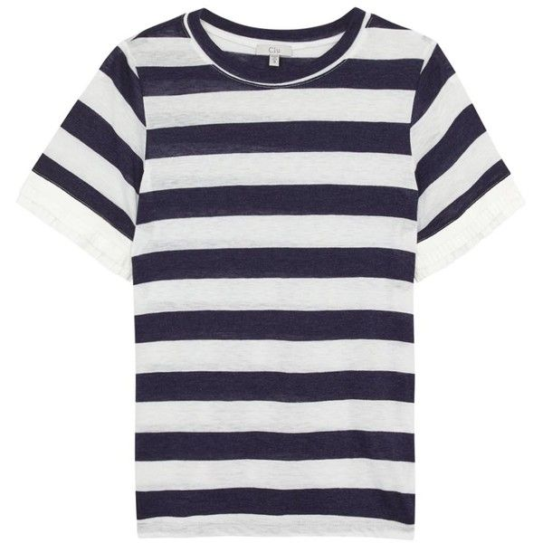 Clu Striped jersey t-shirt ($280) ❤ liked on Polyvore featuring tops, t-shirts, stripe t shirt, jersey tee, white jersey t shirt, stripe top and striped top