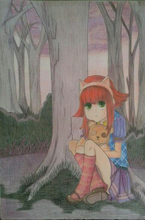 Annie from League of Legends - colour pencils drawing