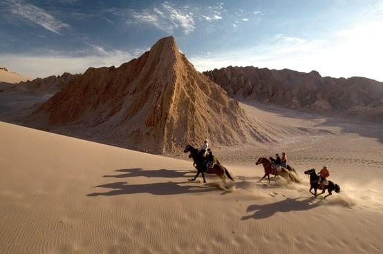 Horse riding through the Atacama Desert in Chile.