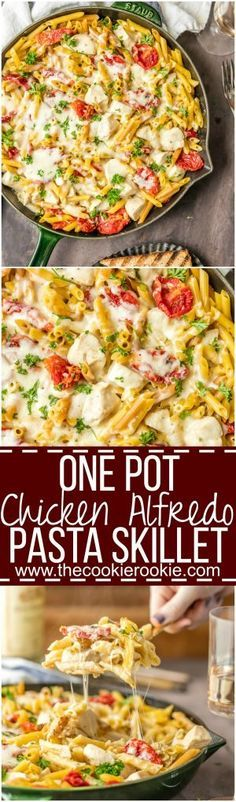 It doesn't get better than ONE POT CHICKEN ALFREDO SKILLET! Creamy one pan Chicken Alfredo made in a skillet tossed with sun dried tomatoes! BEST DINNER EVER.
