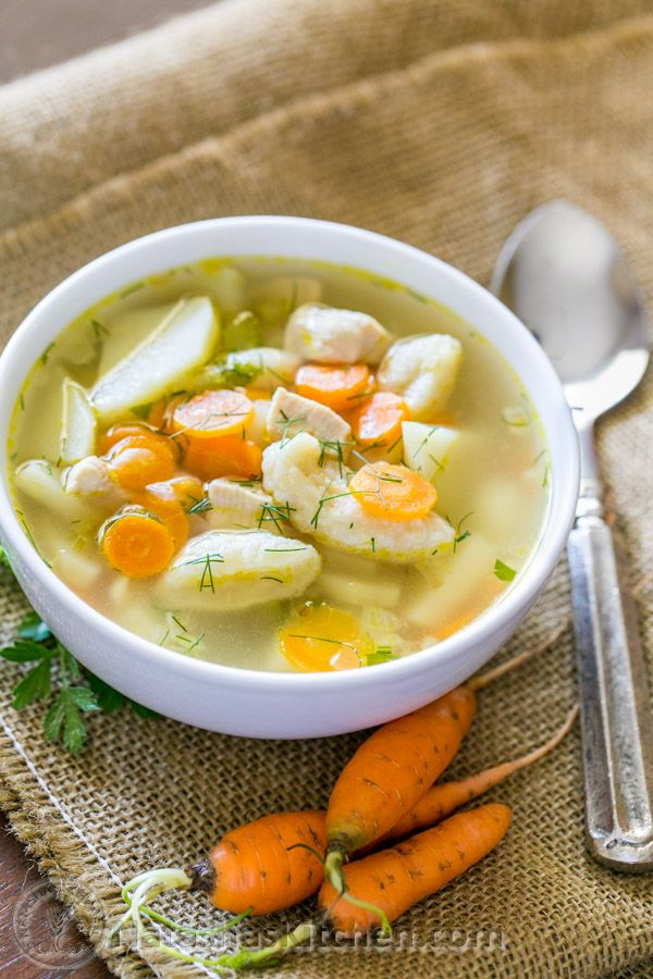 Here's an easy and hearty chicken and dumpling soup that will win you over.  It calls for very simple, healthy ingredients and will make you think of your Mom. The dumplings are soft and satisfying. This soup is quick to make and if you're really pressed...
