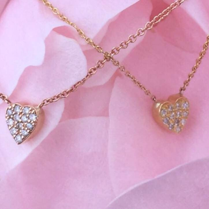 #paulinajewelry Diamond heart necklaces. Available online in rose, yellow and white gold. Made by hand in solid gold, Italian gold chains and brilliant white diamonds