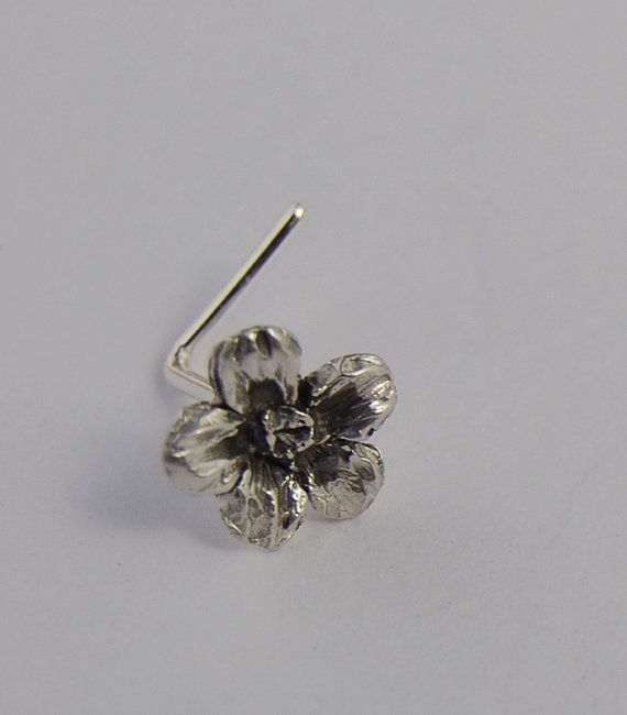 Flower Nose stud Piercing Sterling silver Babies by LStellaJewelry