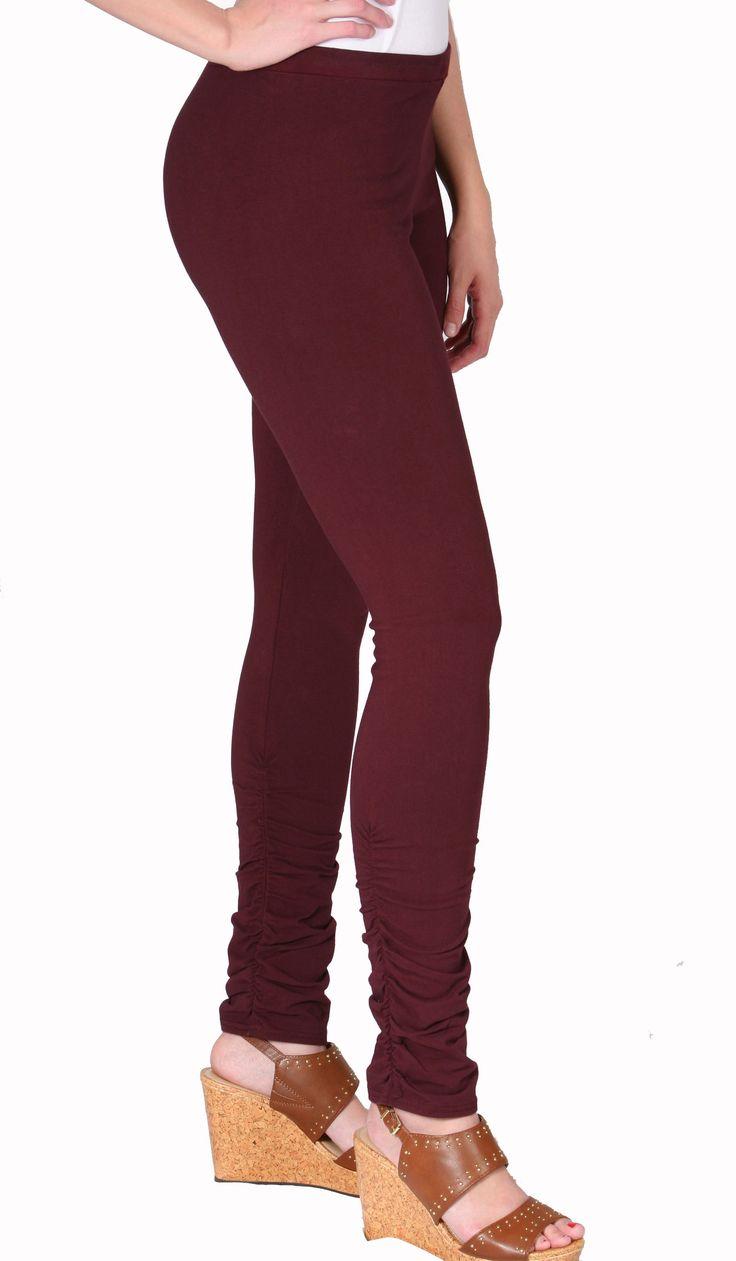 Maroon Cotton Spandex Shirred Long Leggings