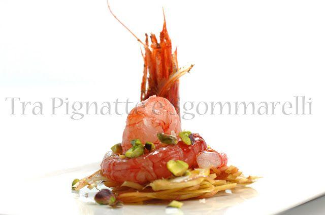 Piccola insalata di gambero rosso di Mazara, carciofo romanesco e pistacchi   Tra Pignatte e Sgommarelli
