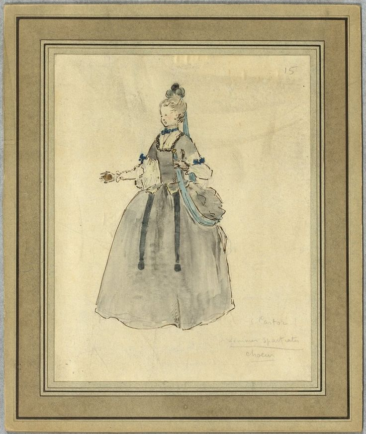 "Costume design (1918), by Jacques Drésa (1869-1929), for Spartan women, in ""Castor et Pollux"" (1737), by Jean-Philippe Rameau (1683-1764)."