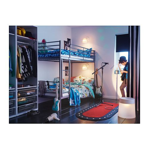 SVÄRTA Bunk bed frame  - IKEA  our room is going to be pretty small...what do you think of this? maybe we just don't put the guard rails and stuff on the top? and don't put on the ladder so climb up the side. i hate bunk beds but lol oh well cause space...