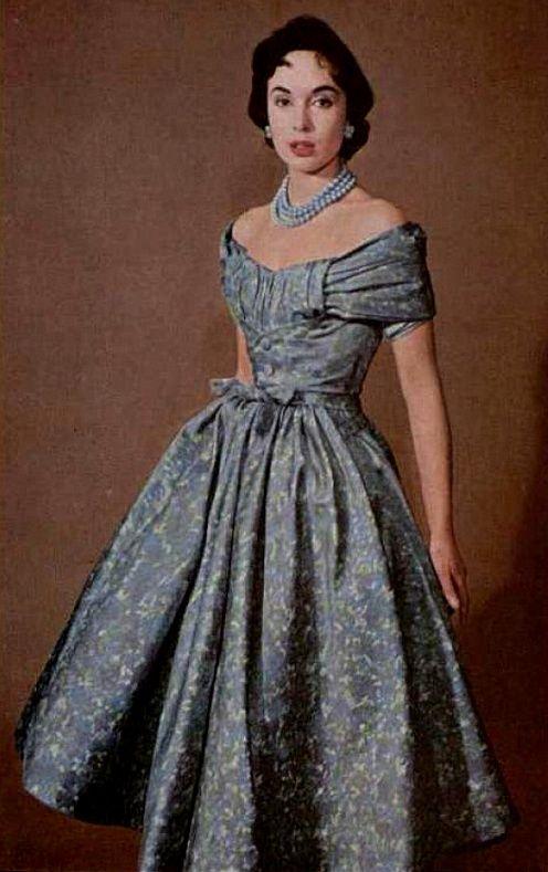 1955 Pierre  Balmain 50s silver blue floral cocktail dress full skirt satin designer vintage couture model photo print ad
