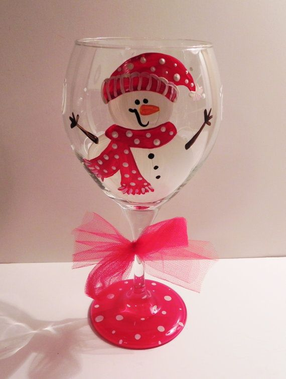 Snowman hand painted glass
