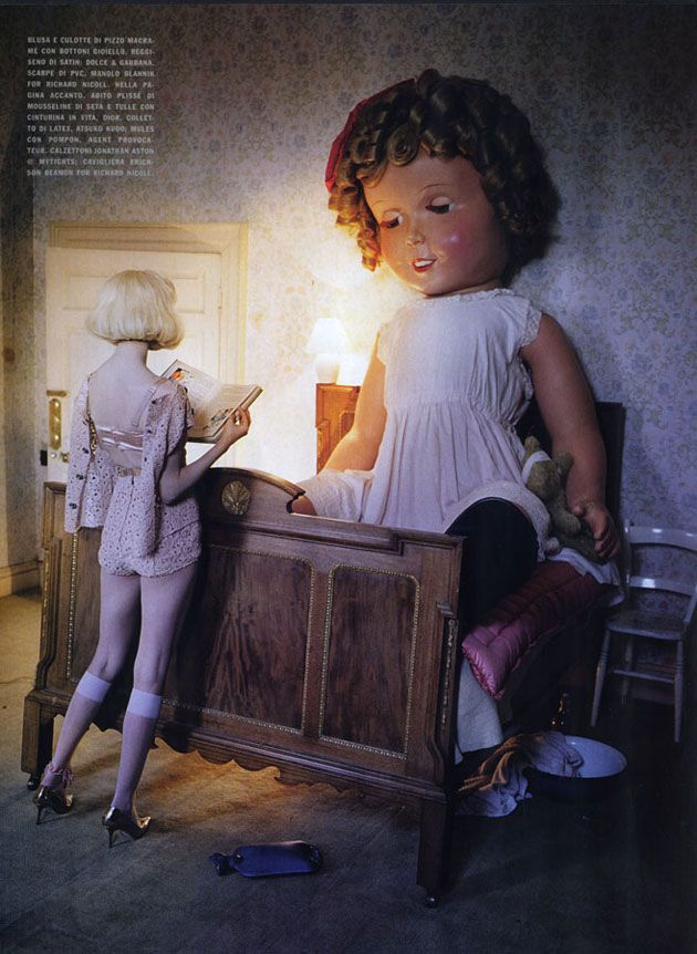 Vogue Italia, Jan. 2012- Like A Doll  Lindsey Wixson - Model  Tim Walker - Photographer  Jacob K - Fashion Editor/Stylist  Shon - Hair Stylist  Samantha Bryant - Makeup Artist  Andy Hillman - Set Designer