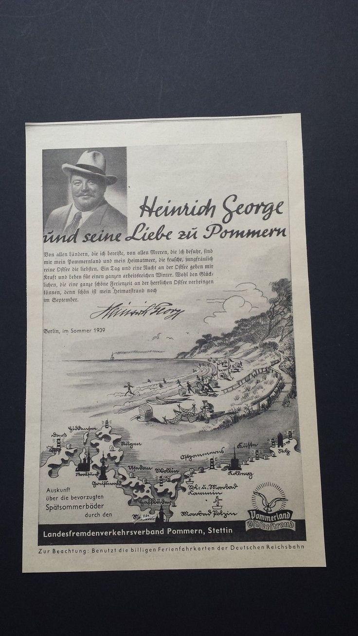 Heinrich George und seine Liebe zu Pommern, Stettin - Historische Werbung - 1939 | eBay