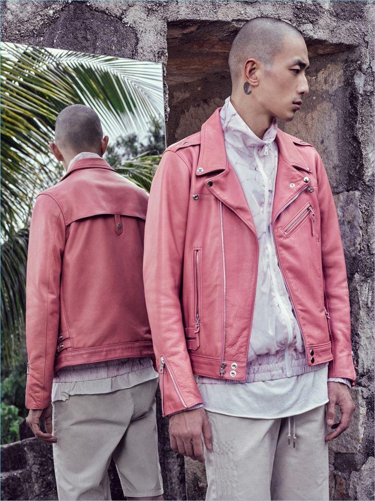 Sung Jin Park rocks John Elliott's statement pink leather biker jacket for spring-summer 2017.