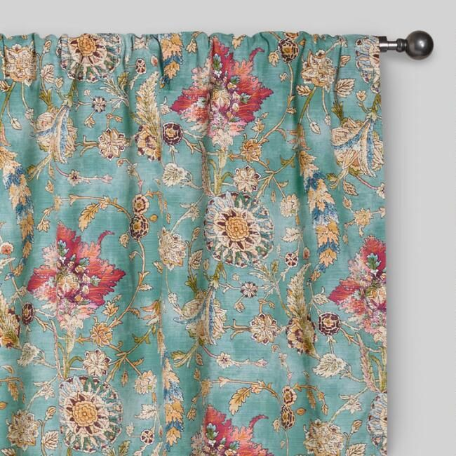 Aqua Genevieve Cotton Concealed Tab Top Curtains, Set of 2 | World Market
