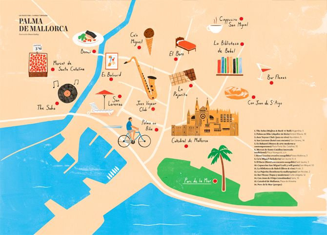 Find your way to some of Europe's landmarks, including archaeological sites, museums but also bars, clubs, markets, via designer Owen Gatley's city map illustrations.