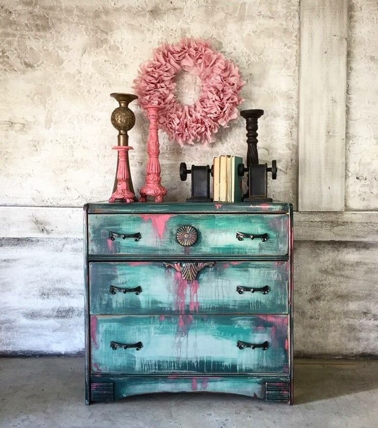 Drippy paint dresser done in blues and