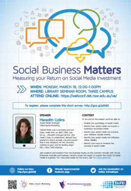 Final Social Business Matters Flyer @videosocialcode #virtualhype I'm so excited about supporting tertiary teachers, students and business owners - especially in my old stomping ground TAFE NSW.