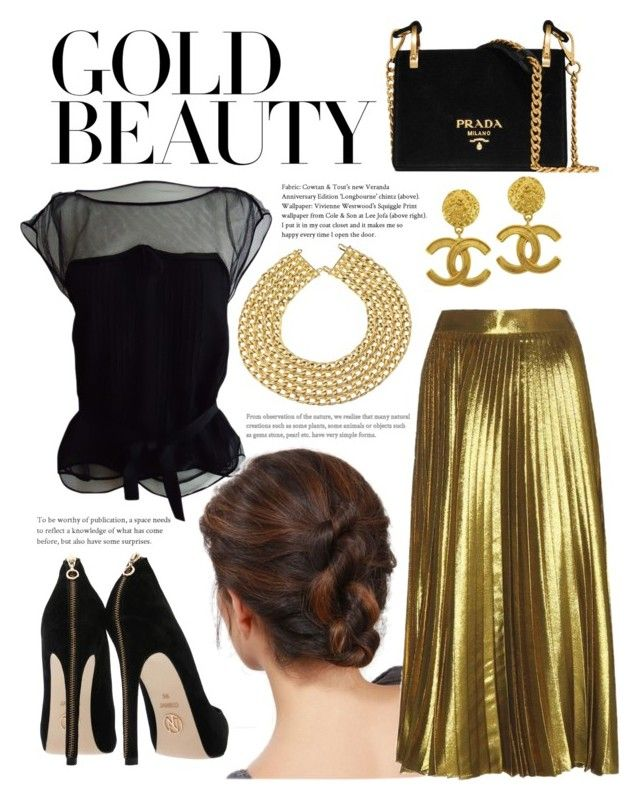 """Night Out in Gold"" by sdkmiller on Polyvore featuring Louis Vuitton, Vintage, Chanel and Prada"