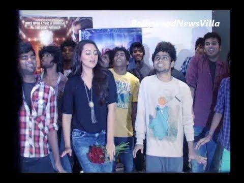 sonakshi sinha does a dance step with chennai loyola dream team.