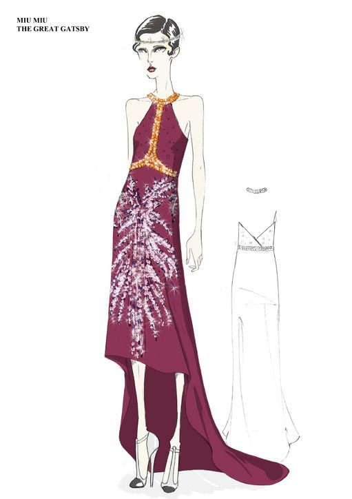 I love these Miuccia Prada sketches for The Great Gatsby movie. The dresses are so stunning and ornate. #prom #inspiration #gatsby  ~Brittany