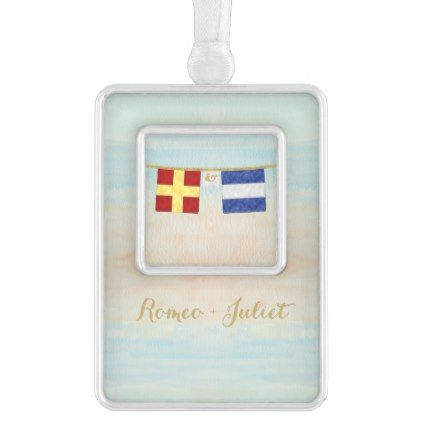 Couples Monogram Maritime Signal Flags Watercolor Christmas Ornament - gift for her idea diy special unique