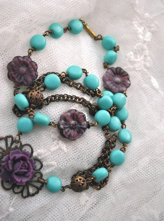 Spring flower colors bracelet Purple Czech glass by MoodsWingz, $40.00