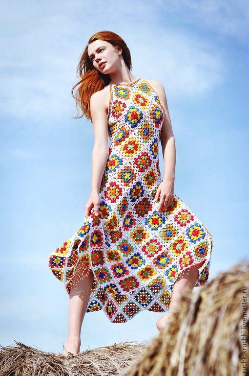 """Купить Платье """"Селянка, хочешь большой и чистой любви?"""" Из хлопка - разноцветный, в клеточку, платье, вязание"""