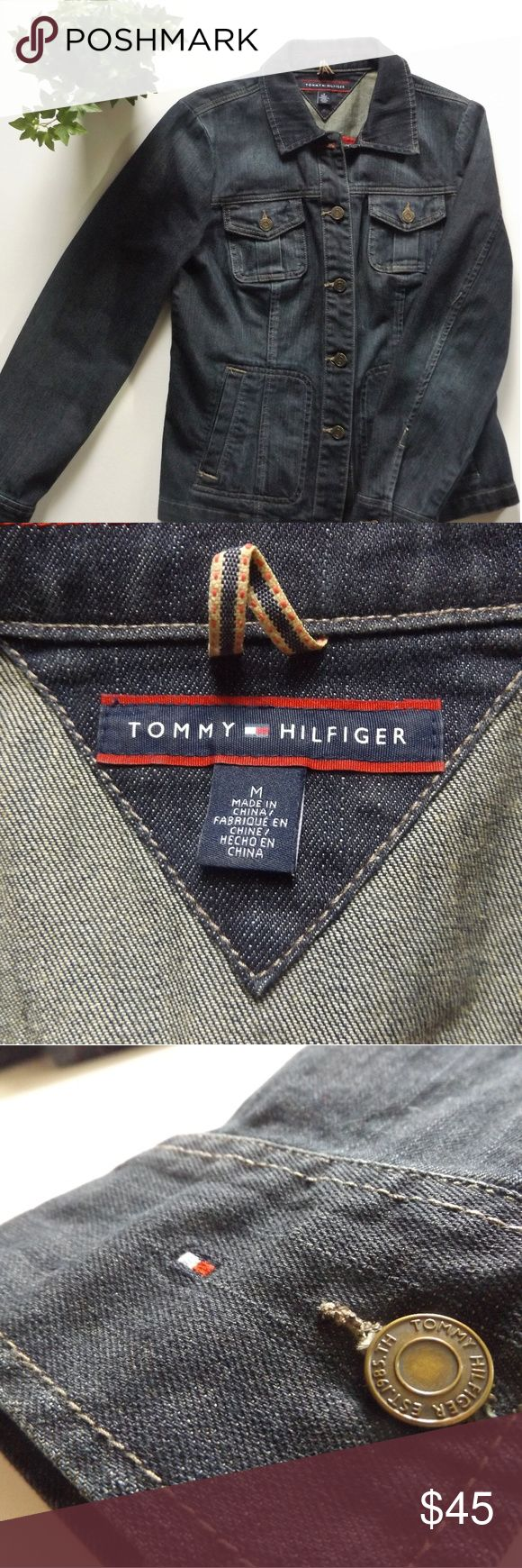 Tommy Hilfiger Denim Jacket Dark denim jacket, button-up closure. Breast pockets are real but the hand pockets are not. Wear with a dress, a skirt, shorts, pants or go denim on denim! Awesome jacket! 99% Cotton, 1% Elastane. Tommy Hilfiger Jackets & Coats Jean Jackets