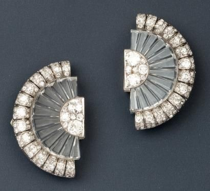 Belperron Exceptional pair of clips corsage fan-shaped platinum and white gold decorated with rock crystal, set with diamonds. Punch and I ...
