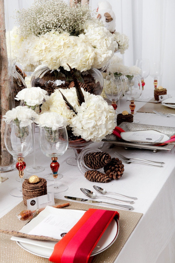 a winter-inspired tablescape Photography by ovyian.com, Event Styling   Design by sarabaigdesigns.com