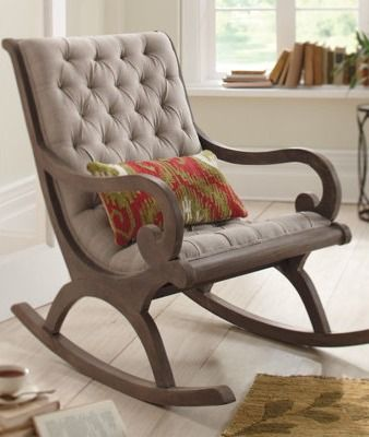 Curl up in the scrolled arms of our deep, tufted Grayson Rocker, it's perfect for a satisfying read or a comfortable chat.