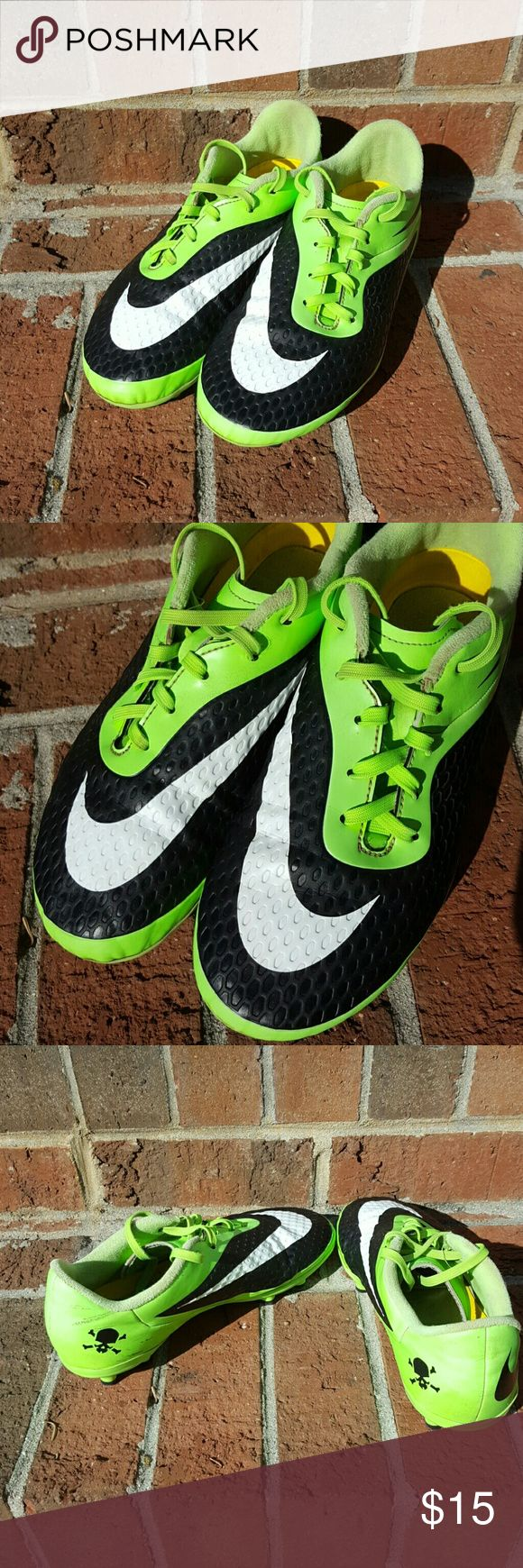 Nike turf shoes  - kids GUC. Skull and crossbones detail inside at back. Green and black. Scuff on inside heel. Nike Shoes