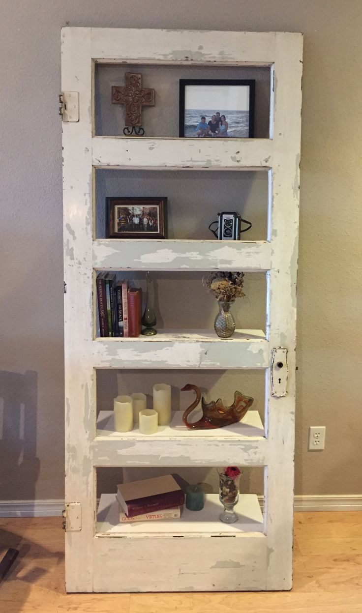 Old Door Made Into A Shelf Shelves Pallet Diy Pallet