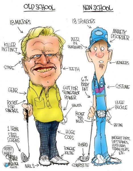 Golf Cartoon. Old School vs New School