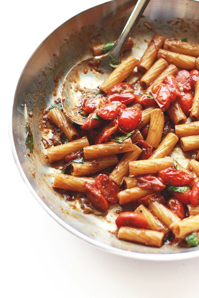 An easy pasta recipe perfect for just one on a weeknight with tangy balsamic and pockets of sweet cherry tomatoes and creamy parmesan cheese.