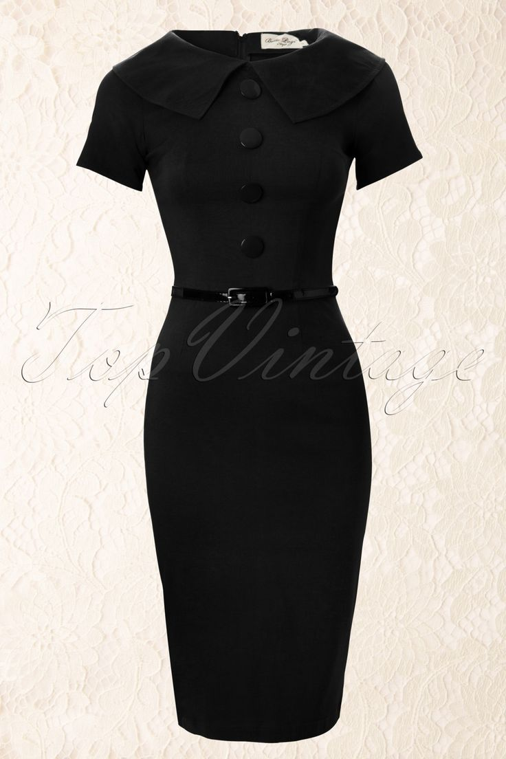 Tatyana - 50s Jade Black Wiggle Pencil Dress Retro