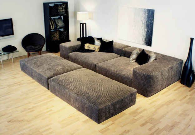 Lived-In Basement Seating..love these giant couches for my theatre room!