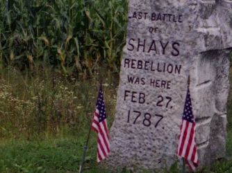 Shay's Rebellion. this interests me because they but a tombstone just in remembrance of the rebellion.