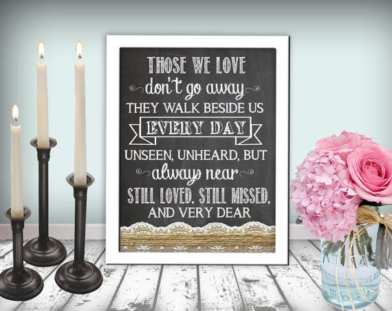 Wedding In Memory Of Sign Those We Love Sign Chalkboard Printable 8x10 PDF Instant Download Burlap & Lace Rustic Shabby Chic Woodland