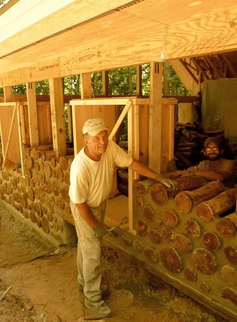 """Cordwood Cabin with 24"""" logs makes it energy efficient and fortress-like."""