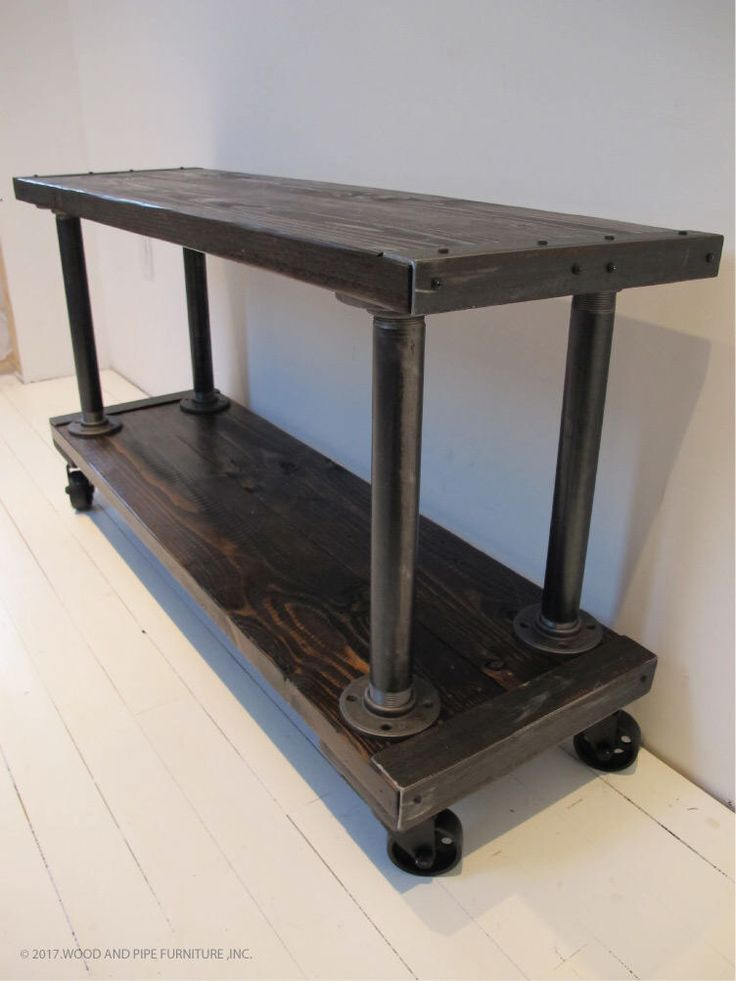Media Console, TV Stand, Industrial Media Console,Media Console with vintage casters, MADE To ORDER by WoodAndPipeFurniture on Etsy https://www.etsy.com/listing/519568649/media-console-tv-stand-industrial-media