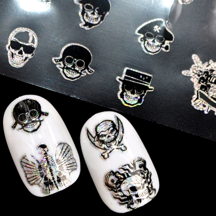 Nail Foil 100*4cm Punk Style Zombie Design Stickers Glue Transfer King Skull Head Cute Nail Design Halloween Decoration
