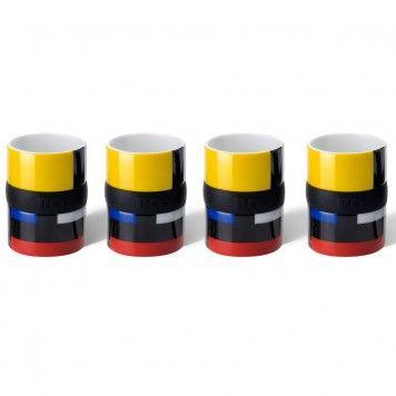Set de 4 tasses expresso Mondri