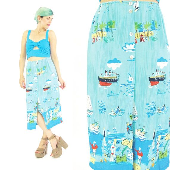 Vintage Novelty Print Skirt Aqua Turquoise Skirt by honeymoonmuse