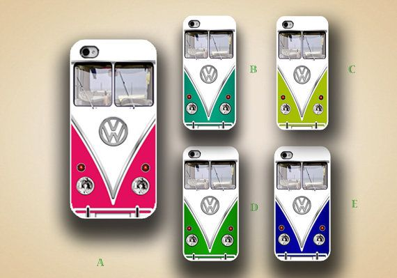 iphone case, i phone 4 4s 5 case, iphone4 iphone4s iphone5 case,stylish plastic rubber silicone cases cover,colorful VW bus funny case p1051 via Etsy