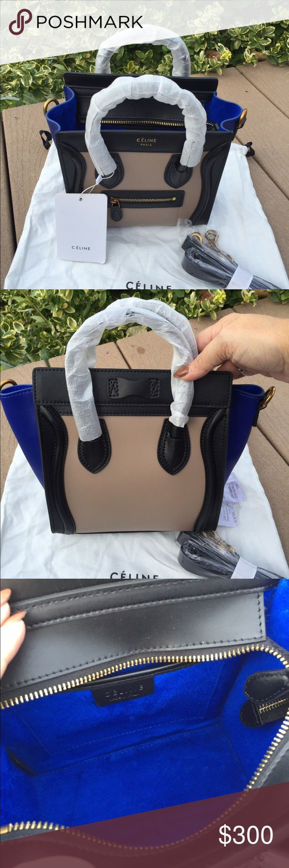 Celine Nano bag with strap New Celine Nano bag with strap and dustbag, blue/black/tan combo, absolutely stunning!! Bags Mini Bags