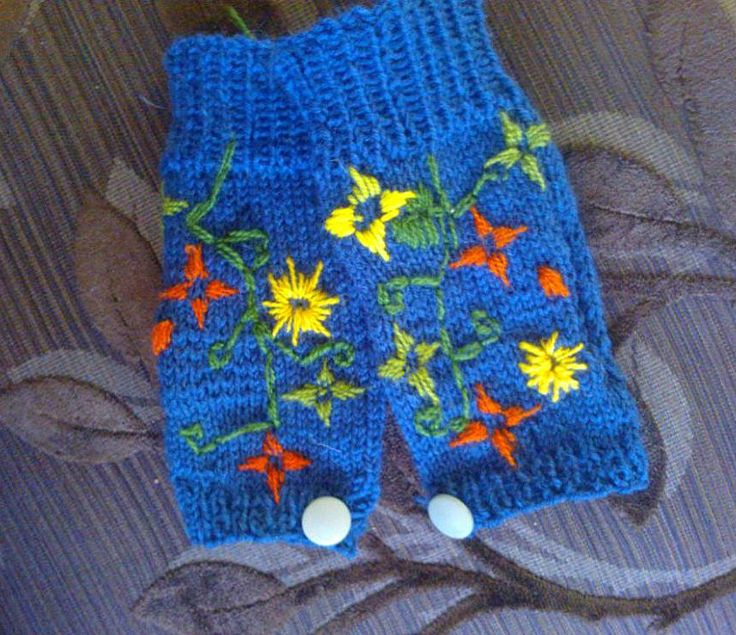 blue hippie fingerless mittens